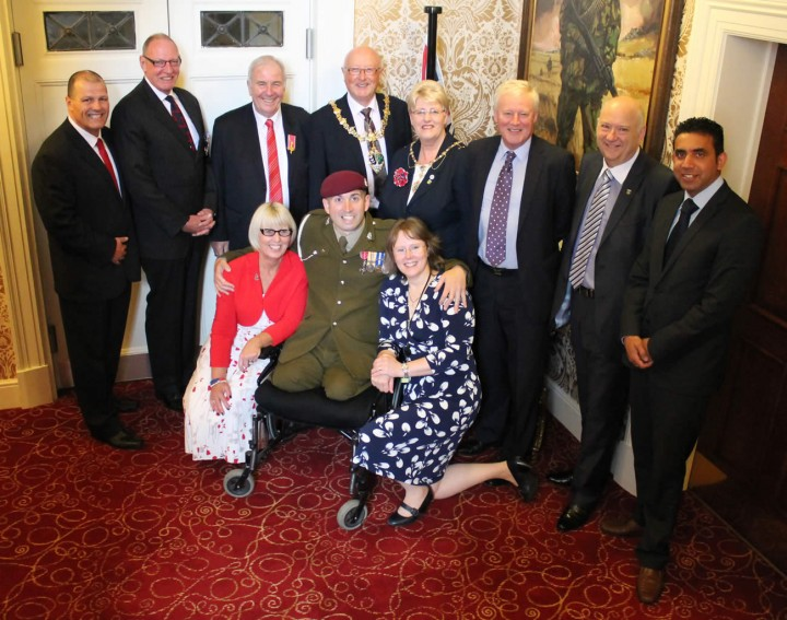 The mayor of Rotherham (Cllr John Foden) with MCVC members.