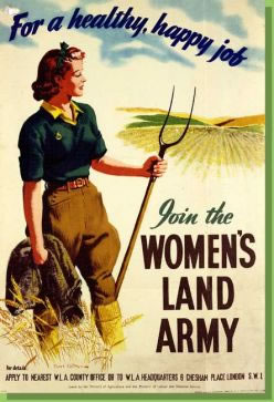 A poster promoting membership of the womens land army.
